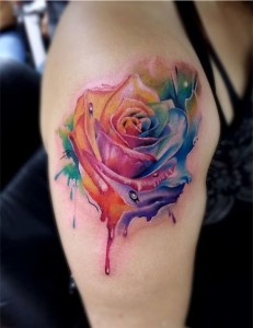Rainbow Colored Roses Shoulder Tattoo