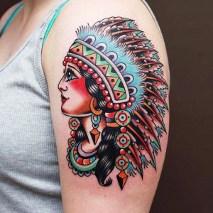 Traditional Female Indian Chief Arm Tattoo