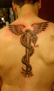 Winged Snake Spine Tattoo