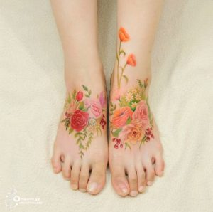 Assorted Roses Foot Tattoo