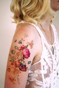 Beautiful Watercolor Floral Bouquet Tattoo