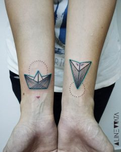 Boat And Plane Origami Wrist Tattoos