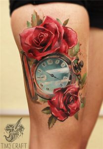 Clock And Roses Thigh Tattoo