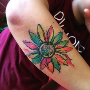 Colorful Sunflower Arm Tattoo