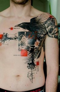 Contemporary Raven Chest Tattoo
