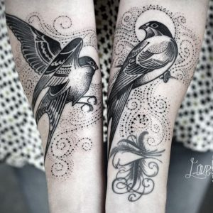Dots, Swirls And Swallows Forearm Tattoo