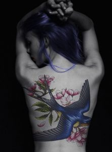 Exquisite Swallow With Cherry Blossoms Back Tattoo