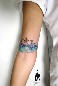 Gorgeous Origami Boat Arm Tattoo