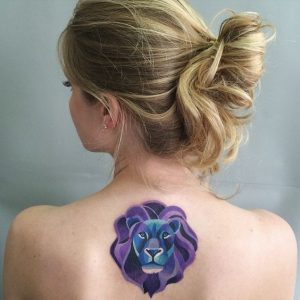 Gorgeous Watercolor Lion Back Tattoo