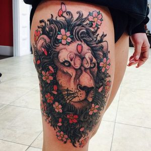 Lovely Floral Lion Thigh Tattoo