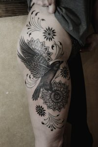 Lovely Floral Raven Thigh Tattoo