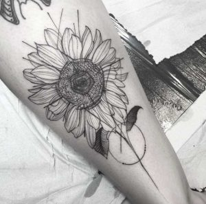 Outlined Sunflower Tattoo