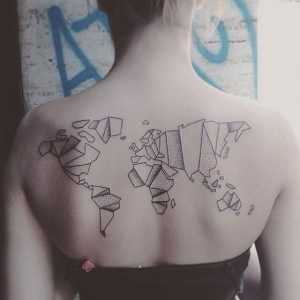 Poly Map Back Tattoo