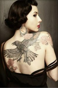 Raven And Roses Back Tattoo
