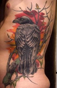 Raven And Sunsets Side Body Tattoo