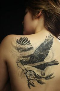 Raven With Dream Catcher Back Tattoo