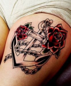 Roses And Anchor Thigh Tattoo
