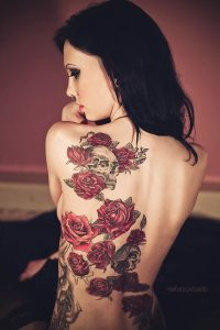 Skull And Roses Back Tattoo