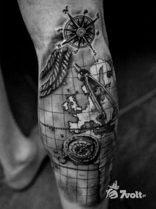 Spectacular Map And Tools Leg Tattoo