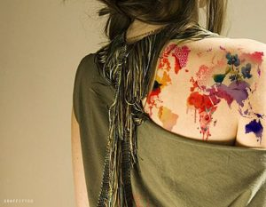 Stunning Watercolor Map Back Tattoo