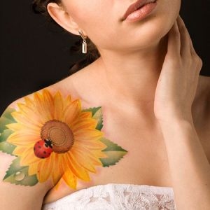 Sunflower And Lady Bug Shoulder Tattoo