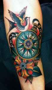 Swallow And Compass Forearm Tattoo