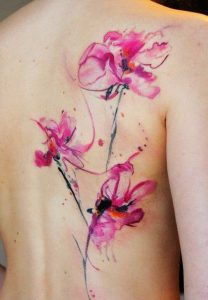 Watercolor Pink Flower Back Tattoo