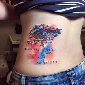 Watercolor Sunflower Back Tattoo