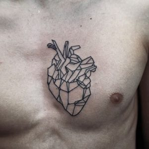Crystal Heart Chest Tattoo