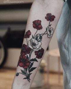 Diverse Poppies Forearm Tattoo