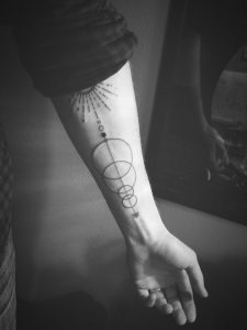 Abstract Space Alignment Forearm Tattoo