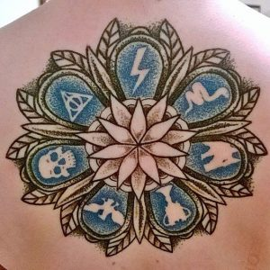 Dotwork Signs Back Tattoo
