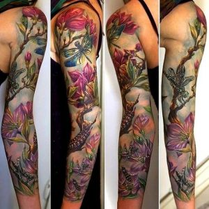 Insects And Garden Sleeve Tattoo