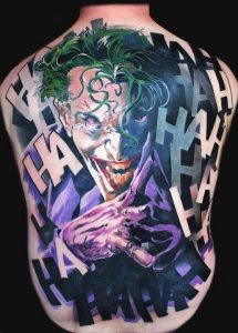 Laughing Enemy Back Tattoo