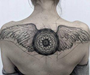 Lovely Wings Back Tattoo