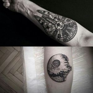 Millineum Falcon and Death Star Forearm Tattoos