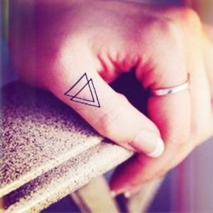 Overlapping Triangle Finger Tattoo