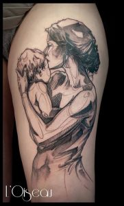 Poetic Mother And Son Arm Tattoo