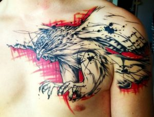 Sketchy Eagle Chest Tattoo