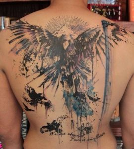 Stunning Watercolor Eagle Back Tattoo