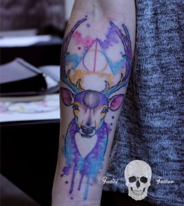 Stunning Watercolor Stag Forearm Tattoo