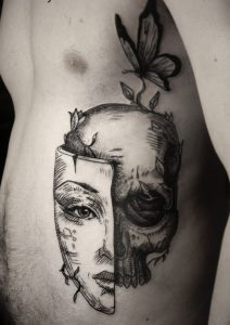 The Mask Side Body Tattoo