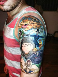 Totoro With The Gang Arm Tattoo