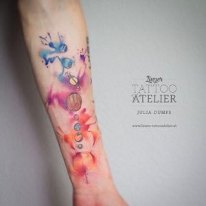 Watercolor Planets Forearm Tattoo