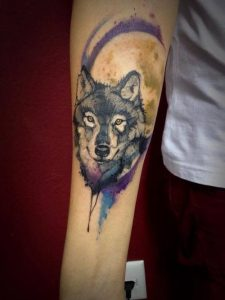 Blue Violet Wolf Forearm Tattoo