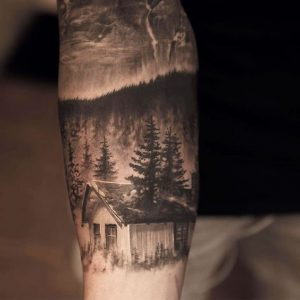 Cabin In The Woods Forearm Tattoo