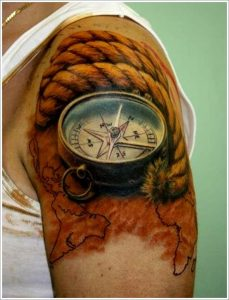Compass And Rope Arm Tattoo
