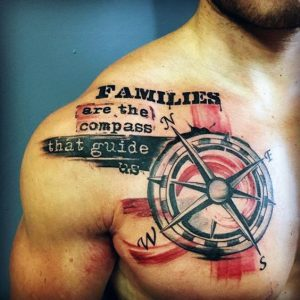 Compass And Saying Chest Tattoo