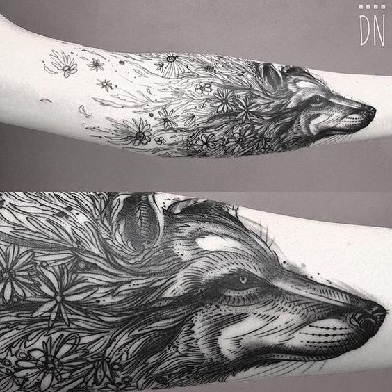 Floral Wolf Forearm Tattoo