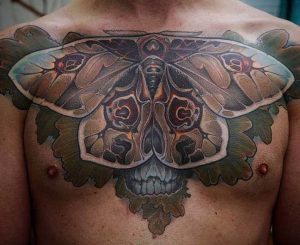 Gorgeous Huge Moth Chest Tattoo